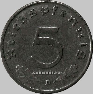 5 пфеннигов 1944 D Германия.