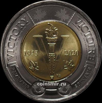 2 доллара 2020 Канада. 75 лет победе во Второй Мировой войне.