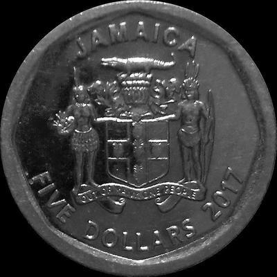 5 долларов 2017 Ямайка.