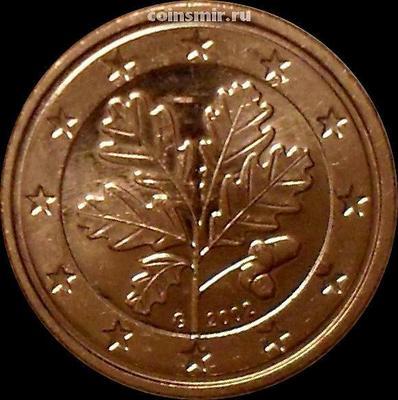 1 евроцент 2002 G Германия. Листья дуба.
