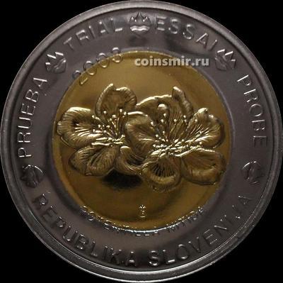 2 евро 2003 Словения. Европроба. Specimen. Лапчатка блестящая.