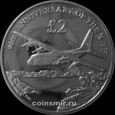 2 фунта 2008 Южная Георгия и Южные Сандвичевы острова. 90 лет авиации.