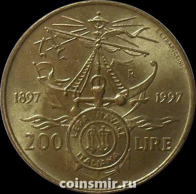 200 лир 1997 Италия. 100-летие итальянской морской Лиги.