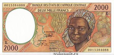 2000 франков 1993-2000 L КФА BEAC (Центральная Африка).