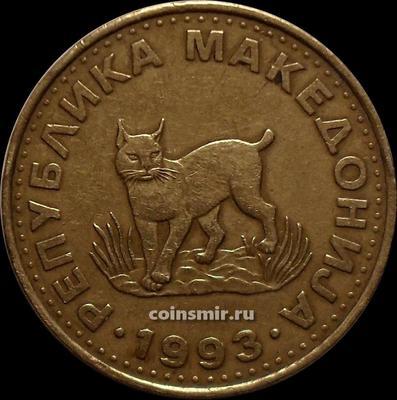 5 денаров 1993 Македония. Рысь.