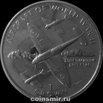 1 крона 1995 Остров Мэн.Самолёты Второй мировой войны. Supermarine Spitfire.