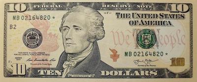 10 долларов 2013 В США. * Звезда-замещение.