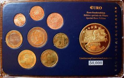 Набор евро монет 2002 + жетон Австрия. Пластик.