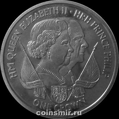 1 крона 2011 остров Мэн. Королева Елизавета II и принц Филипп.