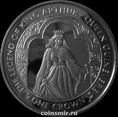 1 крона 1996 остров Мэн. Легенда о короле Артуре. Королева Гуинвер.