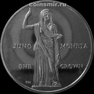 1 крона 2012 остров Мэн. Юнона Монета.