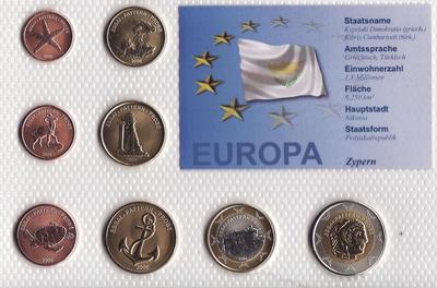 Набор евро монет 2006 Кипр. Проба.