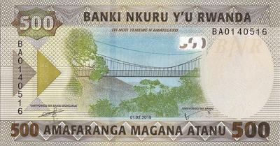 500 франков 2019 Руанда.