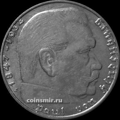 2 марки 1938 J Германия. Гинденбург. Третий Рейх.