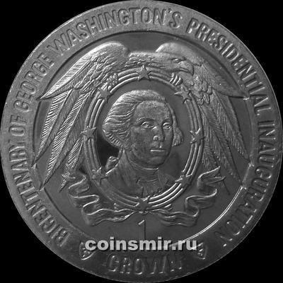 1 крона 1989 остров Мэн. 200-летие инаугурации Джорджа Вашингтона.  Камея в объятьях орла.