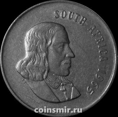 20 центов 1965 Южная Африка. Ян ван Рибек. Английская надпись.