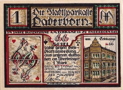 1 марка 1921 Германия г.Падерборн (Рейн-Вестфалия). Нотгельд.