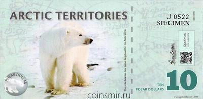 10 долларов 2010 Арктические территории. Белый медведь. Серия J