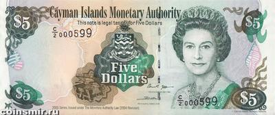 5 долларов 2005 Каймановы острова.