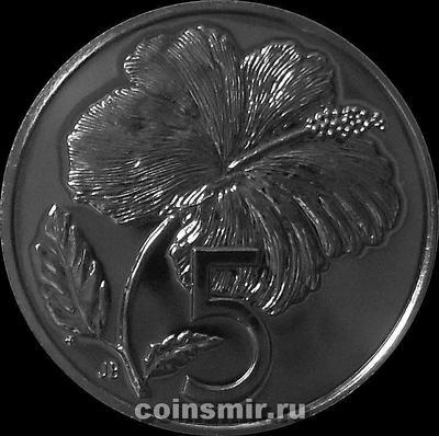 5 центов 1975 острова Кука. Гибискус.