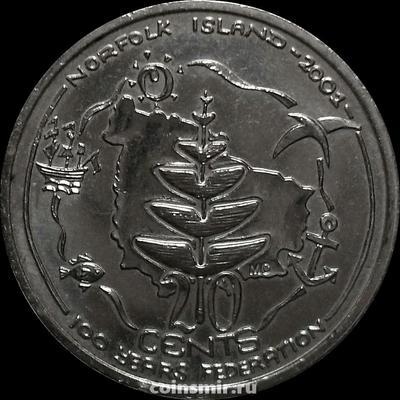20 центов 2001 Австралия. Остров Норфолк. 100-летие Федерации.