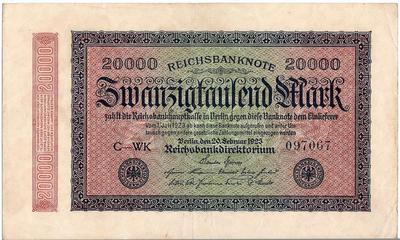 20000 марок 1923 Германия.
