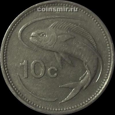 10 центов 1986 Мальта. Золотистая макрель.