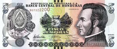 5 лемпиров 2012 Гондурас.
