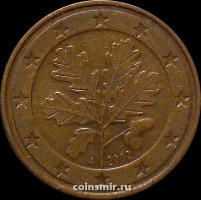 5 евроцентов 2002 А Германия. Листья дуба.