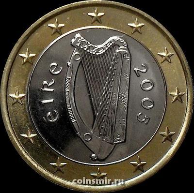 1 евро 2005 Ирландия. Кельтская арфа.