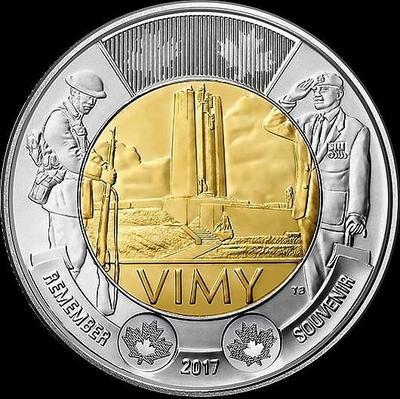 2 доллара 2017 Канада. Первая мировая война. 100-летие битвы при Вими-Ридж.