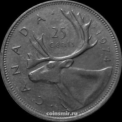 25 центов 1974 Канада. Северный олень.