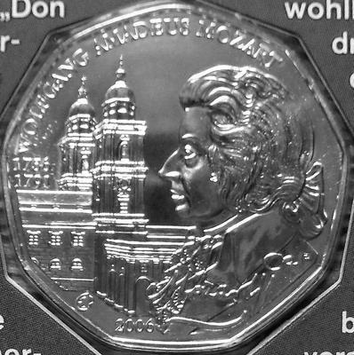 5 евро 2006 Австрия. Вольфганг Амадей Моцарт.