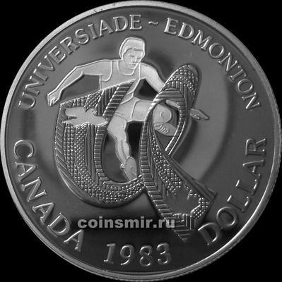 1 доллар 1983 Канада. XII летняя Универсиада 1983. Эдмонтон. Пруф.