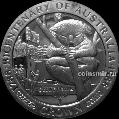 1 крона 1988 остров Мэн. Двухсотлетие Австралии — Коала.