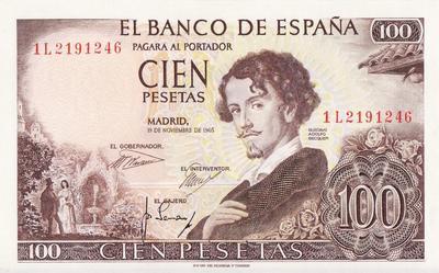 100 песет 1965  Испания.