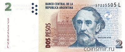 2 песо 2002 Аргентина.