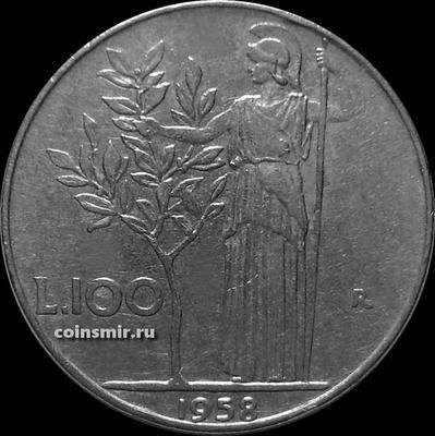100 лир 1958 Италия. Богиня мудрости рядом с оливковым деревом.