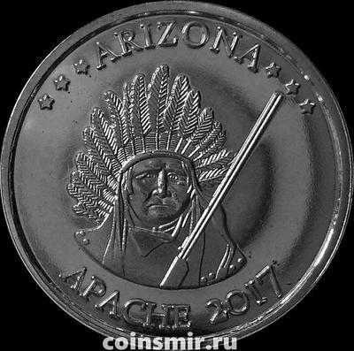 1/4 доллара (25 центов) 2017 Апачи.  Аризона.
