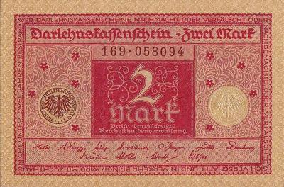 2 марки 1920 Германия.