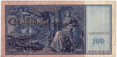 100 марок 1910 Германия. Красная печать.