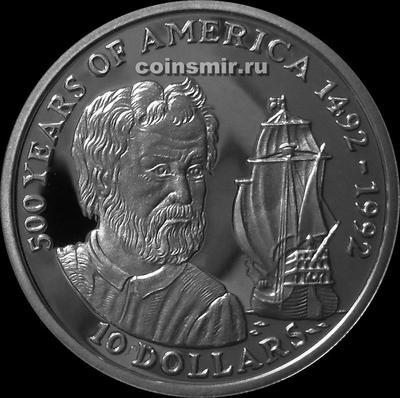 10 долларов 1990 острова Кука. 500-летие открытия Америки Колумбом.