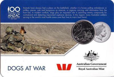 25 центов 2016 Австралия. 100 лет АНЗАК — Собаки в войне.