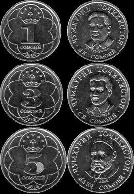 Набор из 3 монет 2018 Таджикистан.
