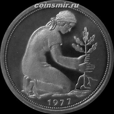 50 пфеннигов 1977 F ФРГ. Пруф.