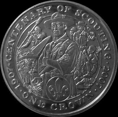 1 крона 2007 остров Мэн. 100 лет Скаутскому движению.