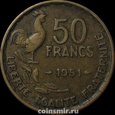 50 франков 1951 без В Франция.