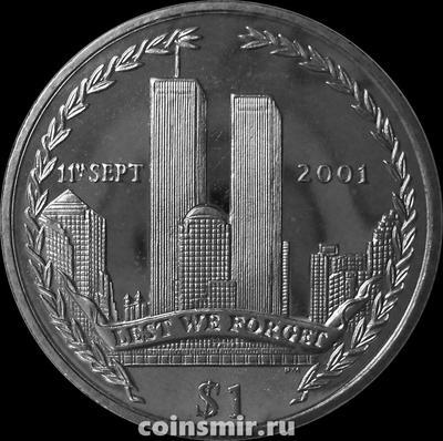 1 доллар 2002 Британские Виргинские острова. Трагедия 11 сентября 2001 года.