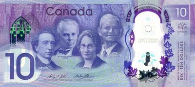 10 долларов 2017 Канада. 150 лет Канадской конфедерации.