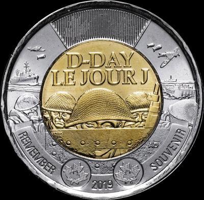 2 доллара 2019 Канада. 75 лет высадке союзников в Нормандии.